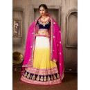 Designer Yellow & Blue Georgette Lehenga Choli - 74034