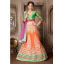 Wedding Wear Orange & Pink Net Lehenga Choli - 74043