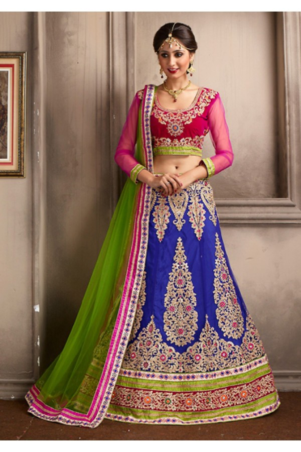 Bridal Wear Blue & Green Net Lehenga Choli - 74045