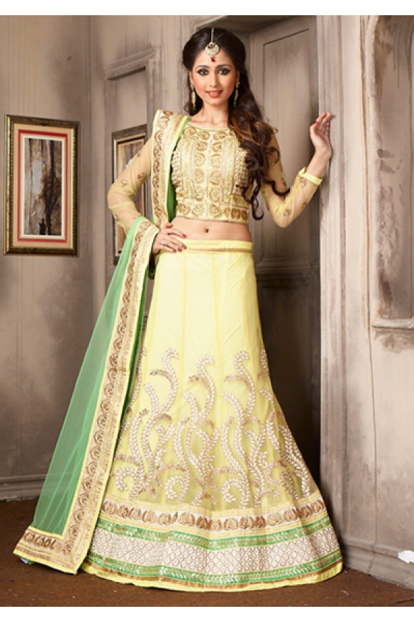 Traditional Yellow & Green Net Lehenga Choli - 74048