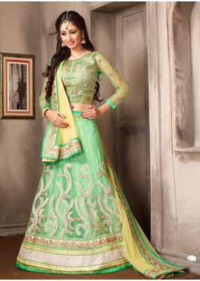Wedding Wear Green & Yellow Net Lehenga Choli - 74050