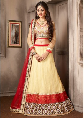 Traditional Beige & Red Net Embroidered Lehenga Choli - 74056