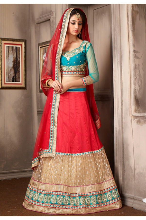 Designer Red & Blue Net Embroidered Lehenga Choli - 74059