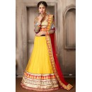 Navratri Special Yellow & Red Net Lehenga Choli - 74062