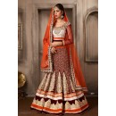 Wedding Wear Maroon & Orange Net Lehenga Choli - 74071