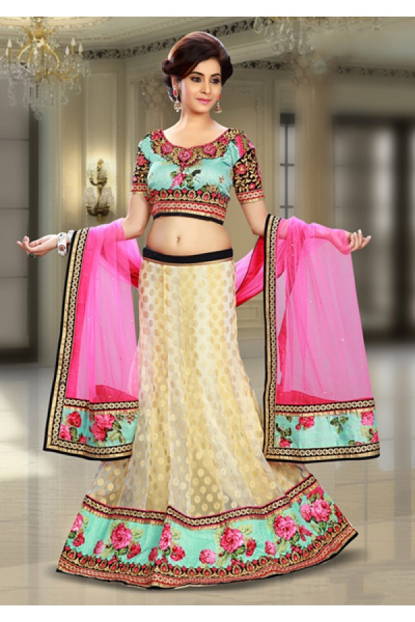Party Wear Off White & Pink Net Lehenga Choli - 74079