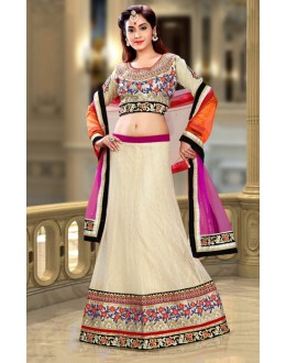 Ethnic Wear Beige & Pink Net Lehenga Choli - 74086