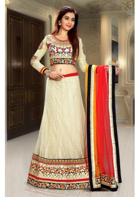 Traditional Beige & Red Net Lehenga Choli - 74088
