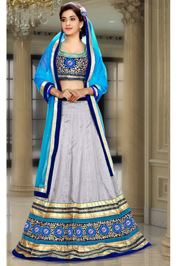 Wedding Wear Grey & Navy Blue Silk Lehenga Choli - 74091