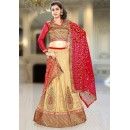 Designer Tan Brown & Red Silk Lehenga Choli - 74094