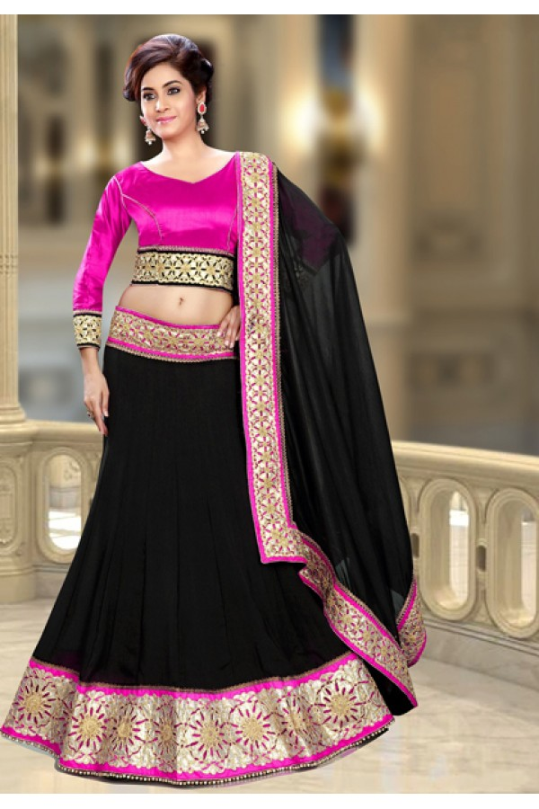 Ethnic Wear Pink & Black Silk Lehenga Choli - 74095