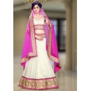 Wedding Wear Off White & Pink Silk Lehenga Choli - 74096
