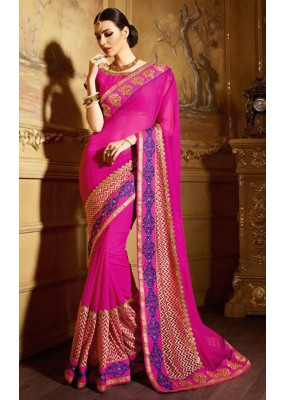 Festival Wear Pink Georgette Saree  - 74145