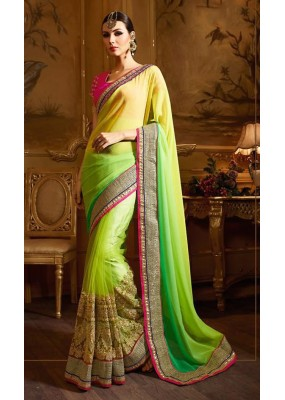 Festival Wear Green & Pink Net Saree  - 74146
