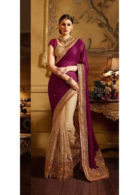 Festival Wear Violet & Tan Brown Georgette Saree  - 74147