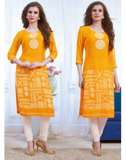 Ethnic Wear Readymade Yellow Georgette Kurti - 74182