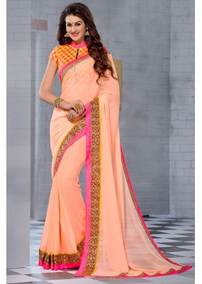 Festival Wear Pink & Yellow Georgette Saree  - 74245