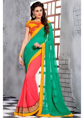 Ethnic Wear Green & Pink Georgette Saree  - 74249