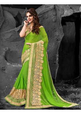 Ethnic Wear Green & Beige Chiffon Saree  - 74267