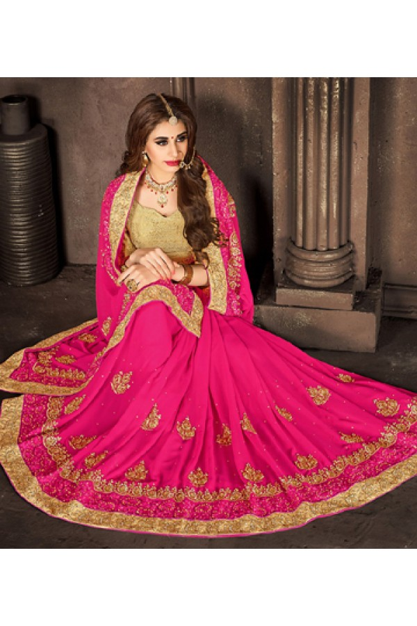Party Wear Pink & Tan Brown Georgette Saree  - 74293