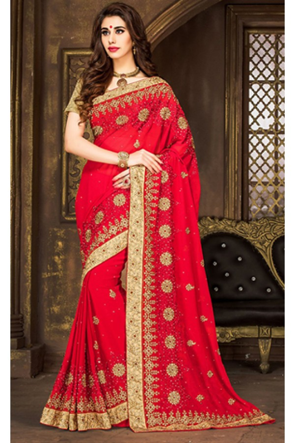 Party Wear Red & Tan Brown Georgette Saree  - 74295