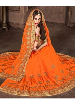 Ethnic Wear Orange & Tan Brown Georgette Saree  - 74297