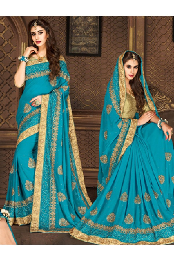 Festival Wear Aqua Blue & Tan Brown Georgette Saree  - 74298