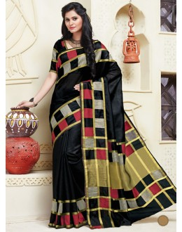 Ethnic Wear Black Cotton Saree  - 74305