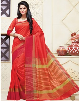 Ethnic Wear Red Cotton Saree  - 74306