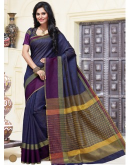 Festival Wear Navy Blue Cotton Saree  - 74307