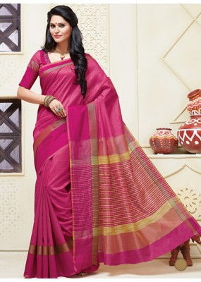 Party Wear Pink Cotton Saree  - 74308