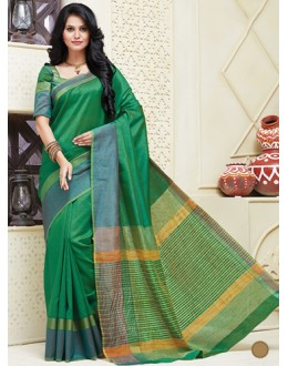 Festival Wear Green Cotton Saree  - 74309