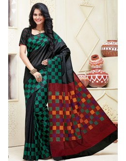 Ethnic Wear Black & Green Cotton Saree  - 74311