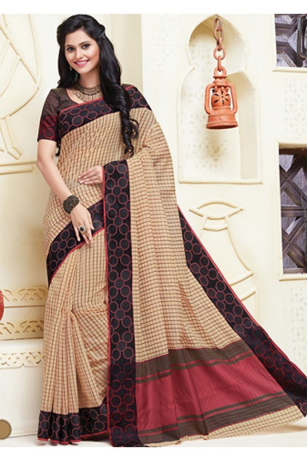 Pary Wear Tan Brown & Black Cotton Saree  - 74312
