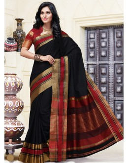 Pary Wear Black & Red Cotton Saree  - 74314