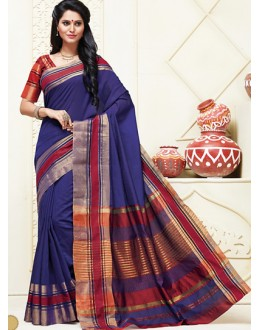 Ethnic Wear Navy Blue & Red Cotton Saree  - 74316