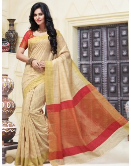 Ethnic Wear Beige & Red Cotton Saree  - 74317