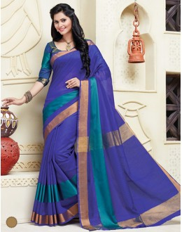 Ethnic Wear Navy Blue Cotton Saree  - 74318