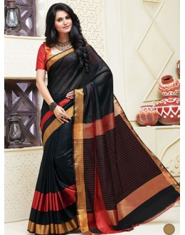 Festival Wear Black & Red Cotton Saree  - 74319