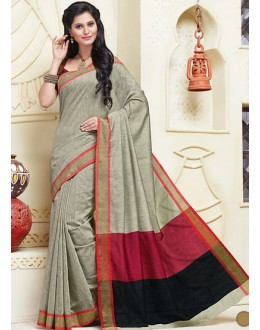 Party Wear Grey & Black Cotton Saree  - 74320