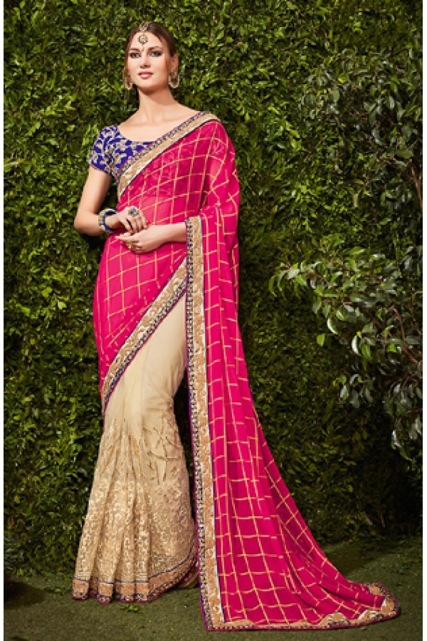 Festival Wear Pink & Beige Chiffon Embroidered Saree  - 74479