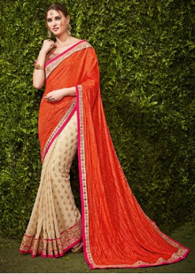 EthnicWear Orange & Beige Chiffon Embroidered Saree  - 74482