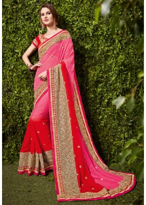 Festival Wear Pink & Red Chiffon Embroidered Saree  - 74483