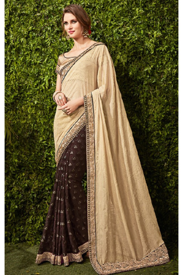 Ethnic Wear Beige & Brown Chiffon Embroidered Saree  - 74484