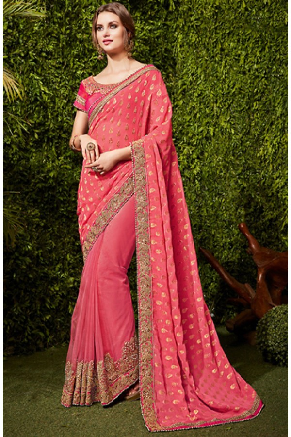 Party Wear Pink Net Embroidered Saree  - 74486