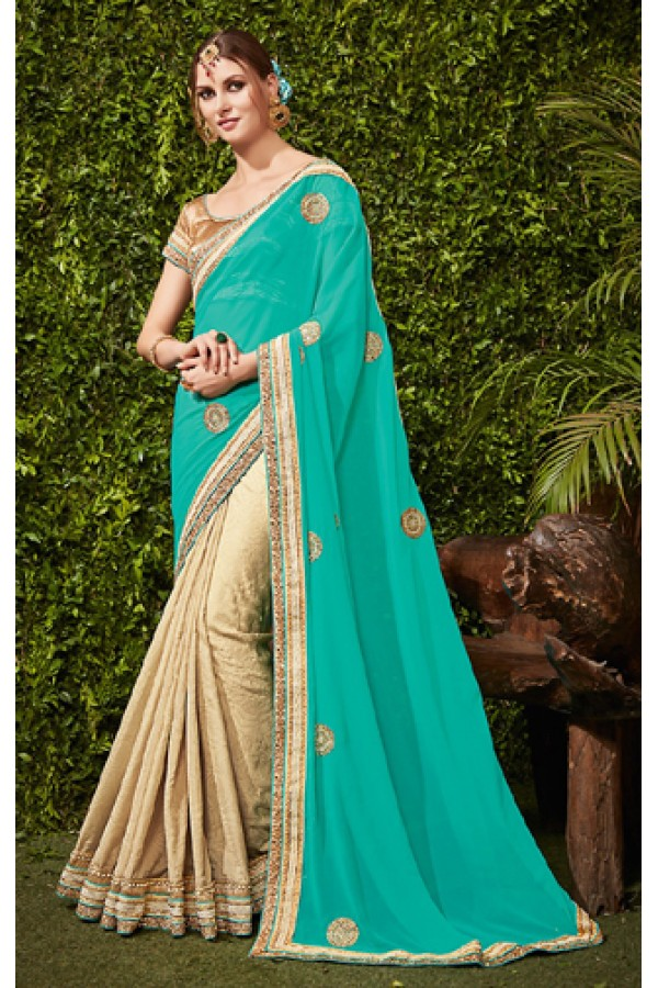 Party Wear Turquoise & Beige Georgette Saree  - 74487