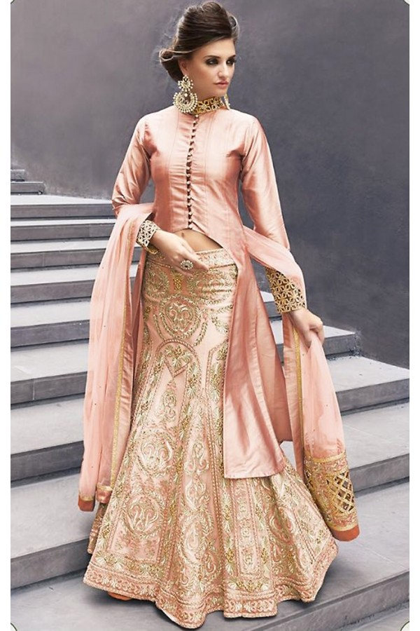 Party Wear Pink Satin Indo Western Lehenga - 74491