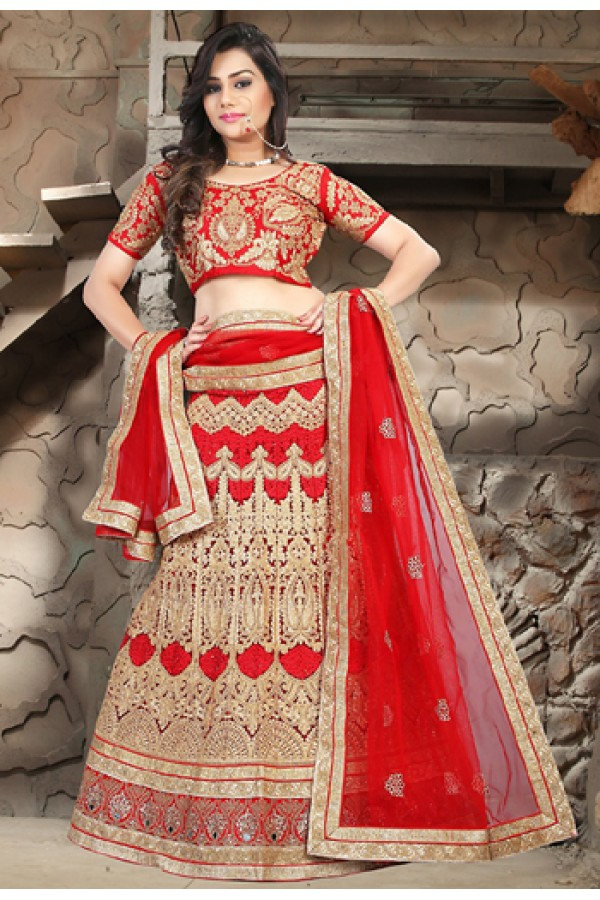 Bridal Wear Red Net Embroidered Lehenga Choli - 74493