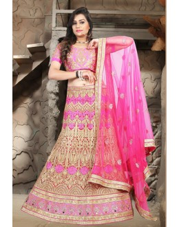 Designer Pink Net Embroidered Lehenga Choli - 74494