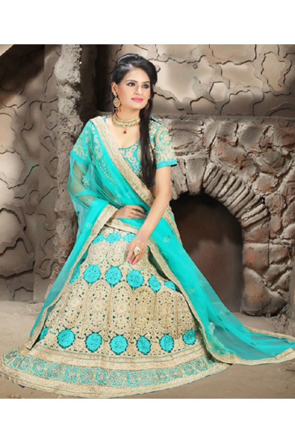 Wedding Wear Turquoise Net Embroidered Lehenga Choli - 74495